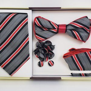 St. Patrick Grey Red Bow & Neck Tie Box 5 Set